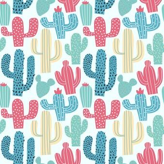 Cactus main colorée dessin modèle sans couture