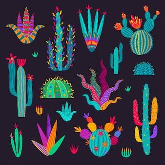Cactus mexicain de dessin animé, cactus dans le style de griffonnage