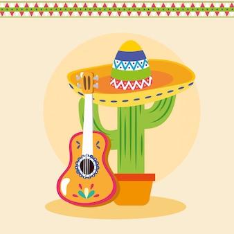 Cactus mexicain avec guitare, mexique culture tourisme landmark latin et illustration de fête