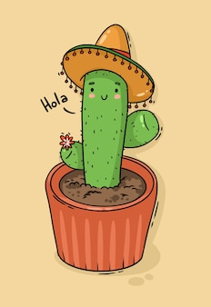 Cactus mexicain de personnage de dessin animé en sombrero