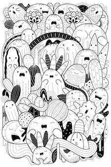 Cactus mignon dessiné à la main