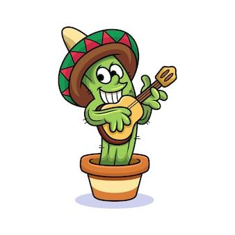 Cactus mignon jouant de la guitare avec un doux sourire