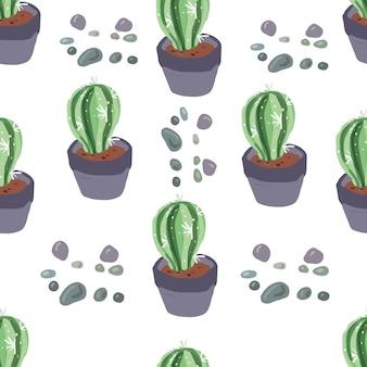 Cactus mignon motif sans couture dessiné à la main