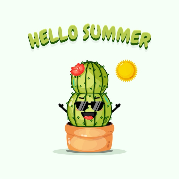 Cactus mignon portant des lunettes avec des salutations d'été