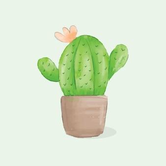 Cactus en pot aquarelle sur fond vert