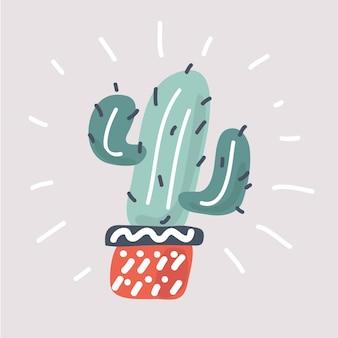 Cactus avec pot sur blanc