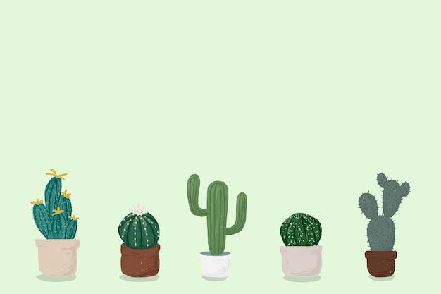 Cactus pot fond vert vecteur mignon style dessiné à la main