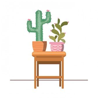 Cactus avec pot en pot sur l'icône de la table