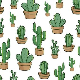Cactus en pot seamless pattern