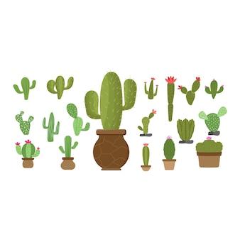 Cactus set icon design template vecteur isolé