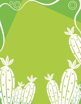 Cactus en silhouette blanche avec fleur et fond vert