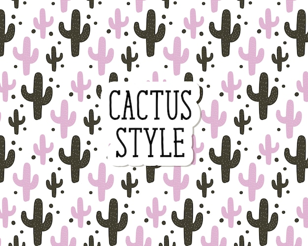 Cactus style vector seamless pattern cute