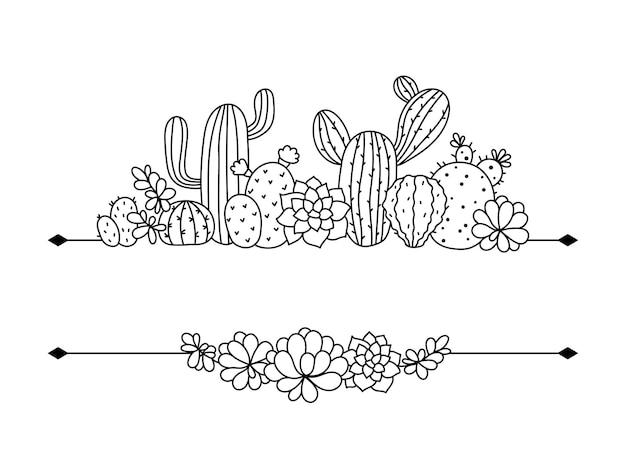 Cactus et succulentes bordure florale pour texte cactus monogramme cadre isolé clipart sur blanc