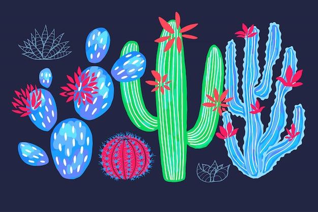 Cactus succulentes sauvages set fleurs colorées aquarelles roses collections. plante d'intérieur bel ensemble sur fond blanc. dessiné à la main.
