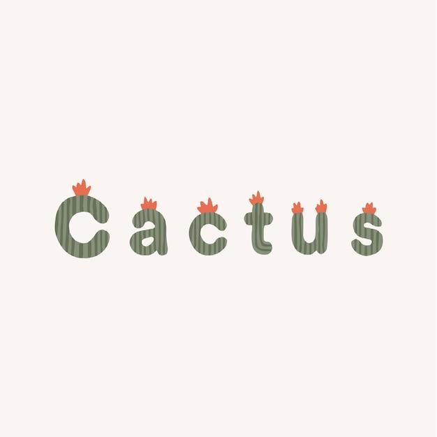 Cactus typographie lettrage plante exotique pour les médias sociaux post illustration vectorielle
