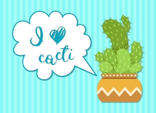 Cactus vert avec bulle en style cartoon.