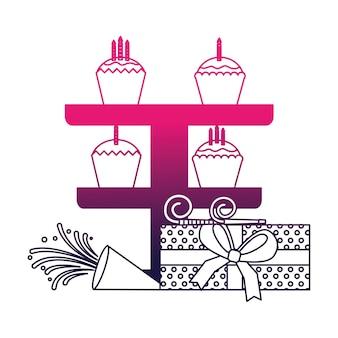 Cadeau d'anniversaire cupcakes et célébration de sifflet