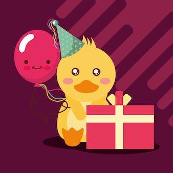 Cadeau boîte kawaii ballon mignon canard avec chapeau de fête