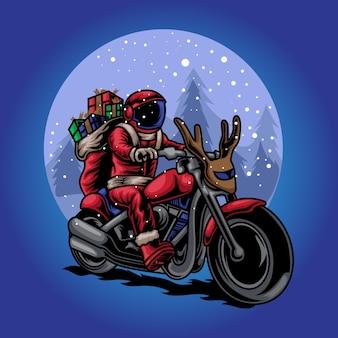 Cadeau de cavalier de noël père noël dans l'illustration de la moto