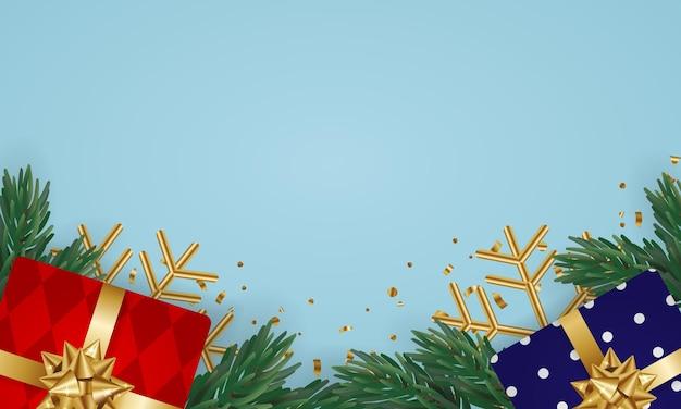 Cadeau et décoration de noël à plat avec un espace vide