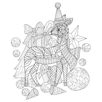 Cadeau dessiné à la main avec petit cerf