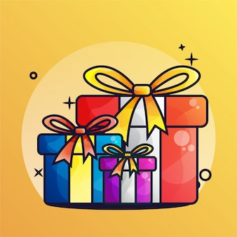 Cadeau gradient surprise christmass illustration