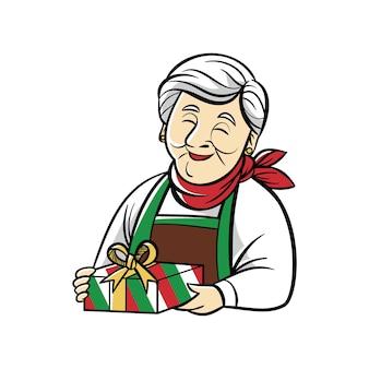 Cadeau de la grand-mère dessinée à la main