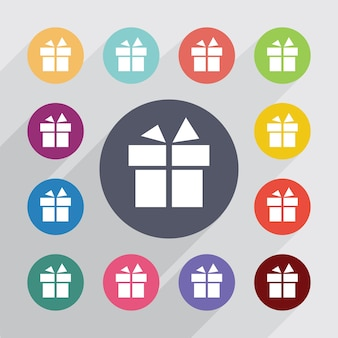 Cadeau, jeu d'icônes plat. boutons colorés ronds. vecteur