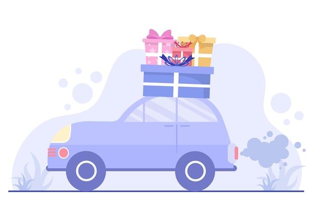 Cadeau livraison en ligne par courrier et client porte à porte utiliser le transport de voiture dans l'illustration vectorielle de fond de style plat