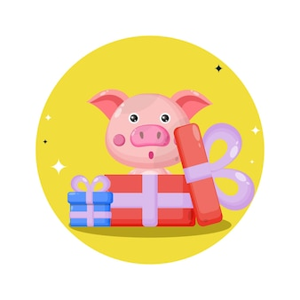 Cadeau de logo de personnage de cochon mignon