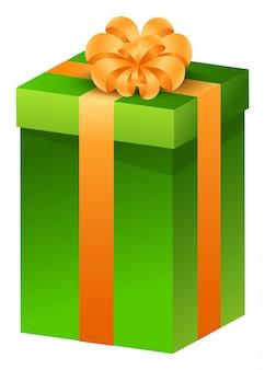 Cadeau de noël, présent dans une boîte attachée avec un ruban