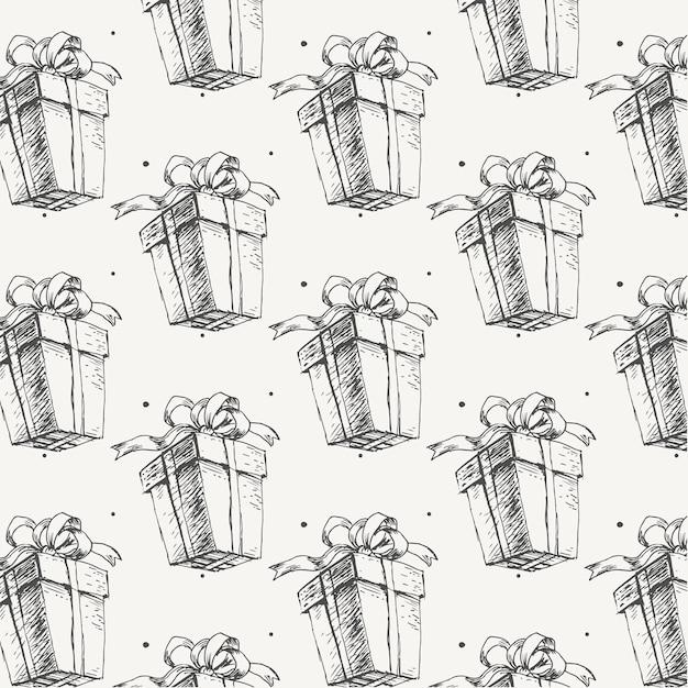 Cadeau de nouvel an de modèle de noël croquis dessinés à la main
