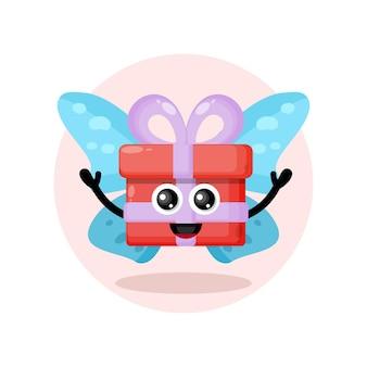Cadeau papillon logo de personnage mignon
