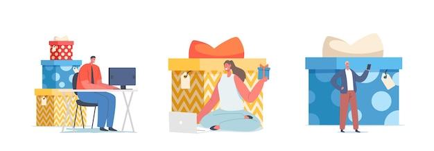 Cadeau pour le concept d'abonnement. de minuscules personnages reçoivent des cadeaux pour s'abonner en ligne dans les réseaux de médias sociaux internet, la campagne promotionnelle du vendeur, le commerce électronique. illustration vectorielle de gens de dessin animé