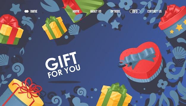 Cadeau pour vous, boîte avec illustration d'arc. page internet pour la prise de commande présente dans du papier d'emballage à la bannière de destination