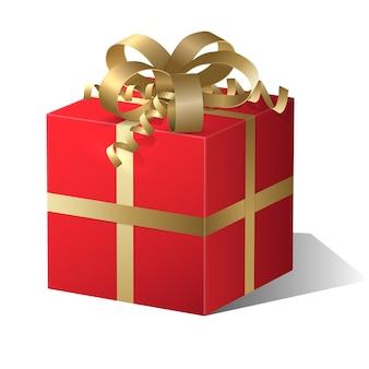 Cadeau rouge avec un arc d'or.