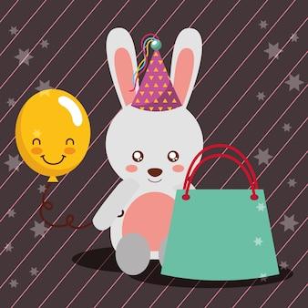 Cadeau sac kawaii ballon mignon lapin chapeau de fête