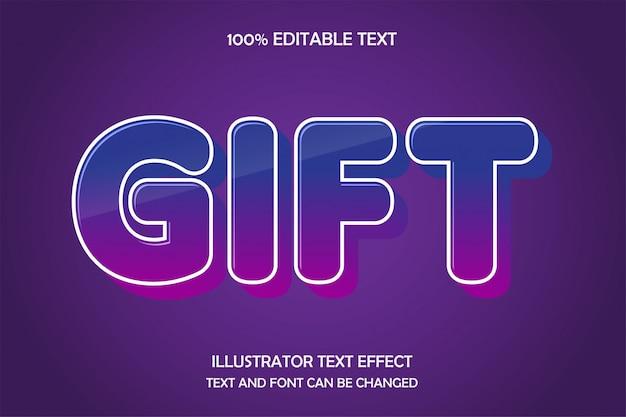 Cadeau, style d'ombre d'effet de texte modifiable