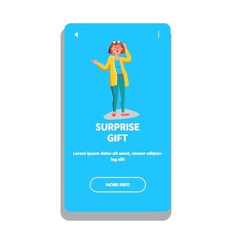 Cadeau surprise femme heureuse émotion choquée