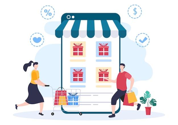 Cadeau en vente en ligne pour offrir une grande remise avec ballon, carte de crédit et sac à provisions pour bannière ou affiche de site web. illustration vectorielle de fond