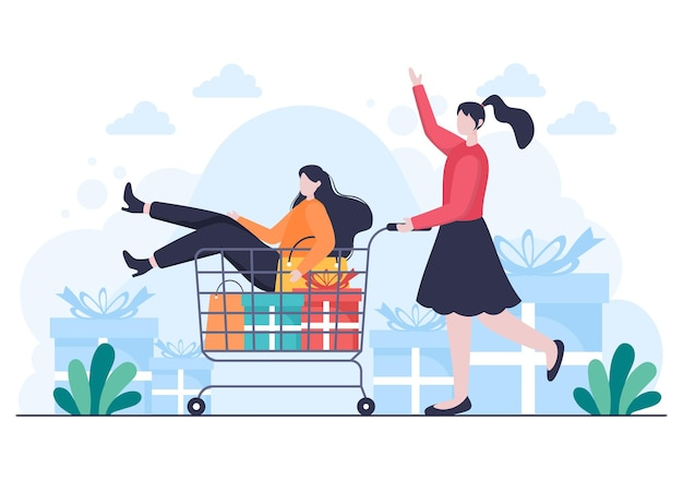 Cadeau en vente pour offrir une grande remise avec ballon, carte de crédit et sac à provisions pour bannière ou affiche de site web. illustration vectorielle de fond