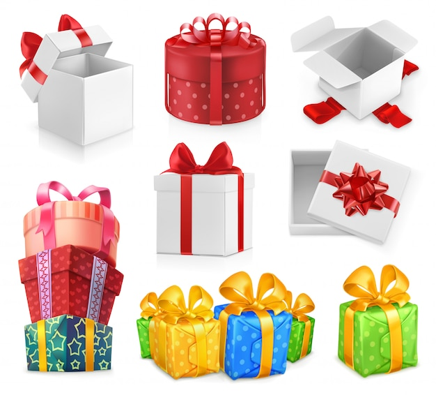 Cadeaux d'anniversaire, cadeaux d'emballage, boîtes avec des arcs, papier décoratif, ensemble de vecteurs