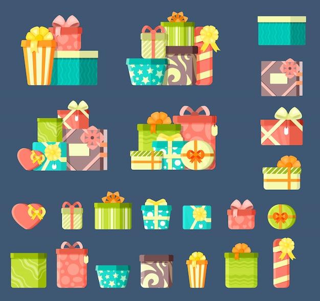 Cadeaux d'anniversaire avec des rubans ensemble d'illustrations vectorielles plat