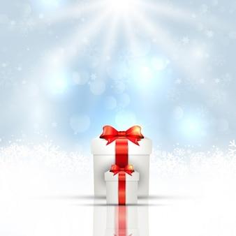 Cadeaux blanches sur un fond blanc bokeh