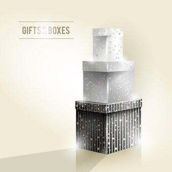 Cadeaux et coffrets, rétro, noir et blanc