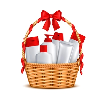 Cadeaux cosmétiques de luxe avec noeud rouge