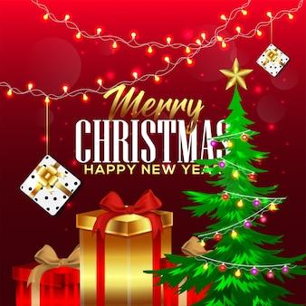 Cadeaux et décorations de noël avec cadeau