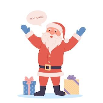 Cadeaux et dessin animé drôle santa agitant la main et dire hohoho isolé sur fond blanc