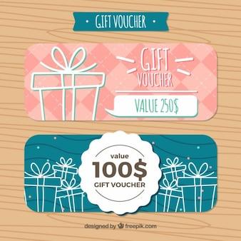 Cadeaux dessinés à la main des coupons de réduction