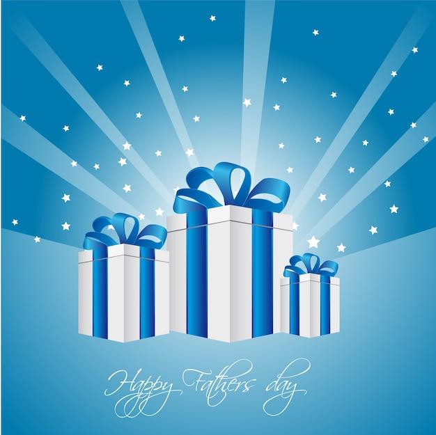 Cadeaux sur fond bleu avec les étoiles fête des pères